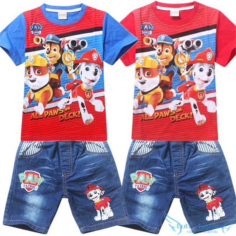 Baby Boys Girls Summer Clothes Sets 2016 Kids Paw Dog*Puppy Patrol* Short Sleeve Top+Jeans Pants 2pcs Clothing Set Stripes Suits