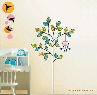 Tree birds Cage Butterfly wall stickers vinyl cute wall tattoos for baby children room LD1164(China (Mainland))