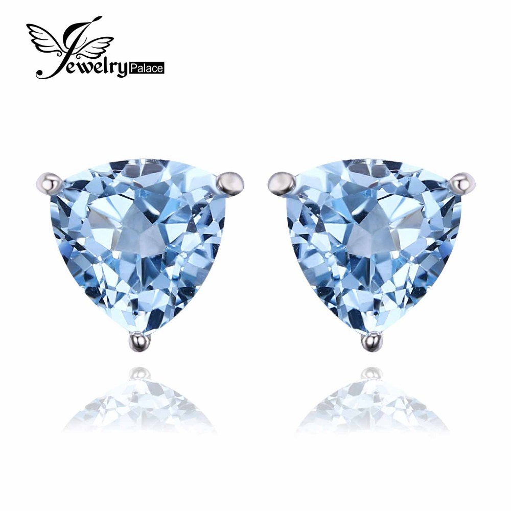 Jewelrypalace Trillion 19ct Natural Sky Blue Topaz Birthstone Pure 925  Sterling Silver Stud Earrings For Women Fashion Jewelry