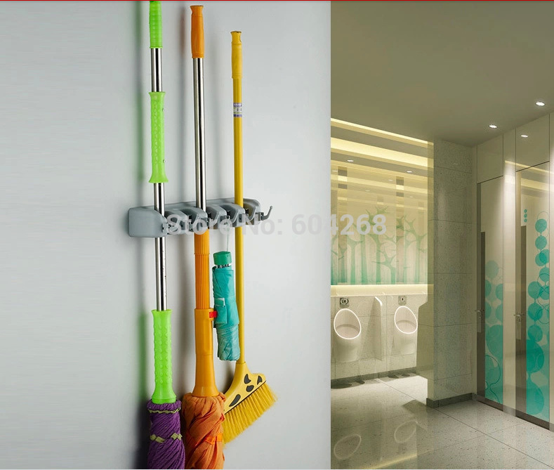 Kitchen Wall Mounted Hanger Storage 5 Position Mop Brush