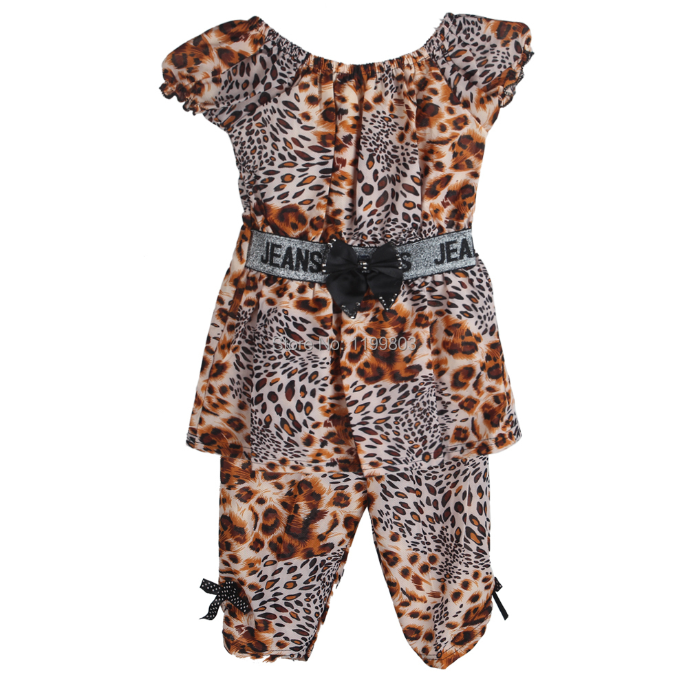 New 2015 Fashion Summer Leopard Print Short Sleeve Shirt Pants Baby Girl Outfit Clothing Set for Girls Kids Children(China (Mainland))