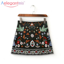 Buy Spring 2017 A-Line Mini Ethnic Women Skirts Short Black Embroidered Skirt High Waist Floral Vintage Embroidery Skirts Female for $13.99 in AliExpress store