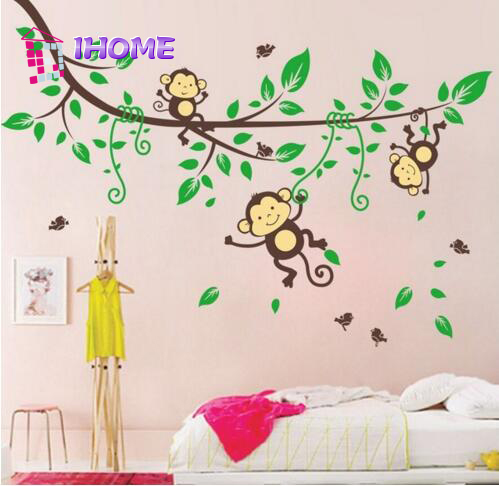 Cartoon Monkey Playing Tree Wall Sticker Removable Home Decors Decal Art DIY Decorations Paper ZY1205(China (Mainland))