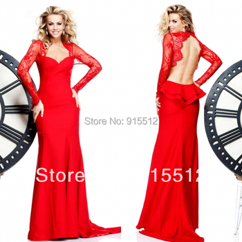WholeSale Fashion 2013 Red Color Sweetheart Neck Lace Long Sleeves Backless Long Chiffon Custom Made Dress Evening Dress