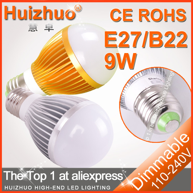[huizhuo lighting]hot sale 2pcs/lot 3*3W AC100-240V high power led bulb non-dimmable/dimmable bulb light