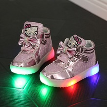 2016 1 a 5 años de edad baby girl shoes cartoon botas moda llevó luz niños zapatos niños de la alta calidad de zapatos rosados blancos de plata(China (Mainland))