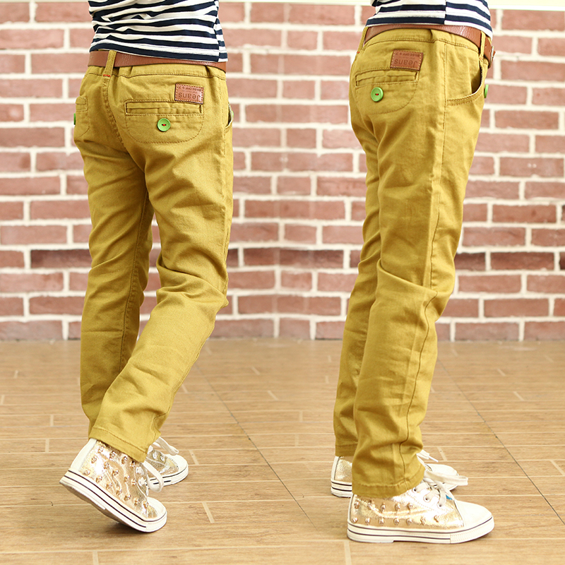 2016 Fashion casual pants solid color loose pants autumn boys 100 cotton trousers for kids straight
