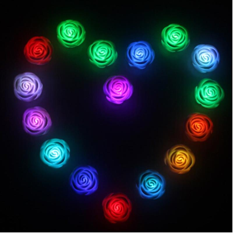 new romantic 1pc rose flower led 7 color changing light
