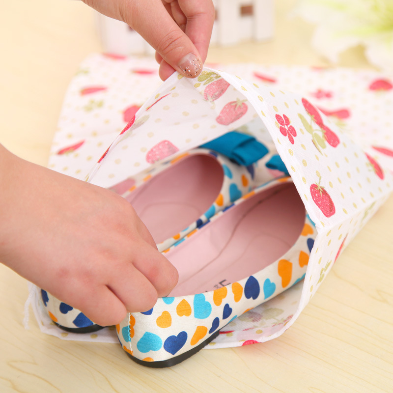 Travel Portable Drawstring printing thick non-woven shoe dust storage bag wholesale price shoe storage pouch Organizer(China (Mainland))