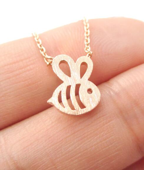 Small Bumble Bee Shaped Animal Charm Necklace Handmade Jewelry --12pcs/Lot(China (Mainland))