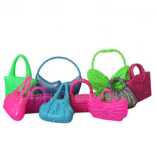 10 PCS Mix Styles Colorized Fashion Morden Doll Bags Accessories Toy For Barbie Doll Birthday Xmas Gift Free Shipping(China (Mainland))