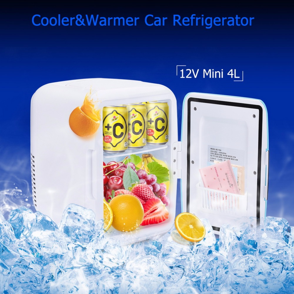 4L Mini Car Fridge 12V Cooler Warmer Travel Refrigerator Heating Food Electric Portable Icebox Freezer Box ABS No Compressor(China (Mainland))