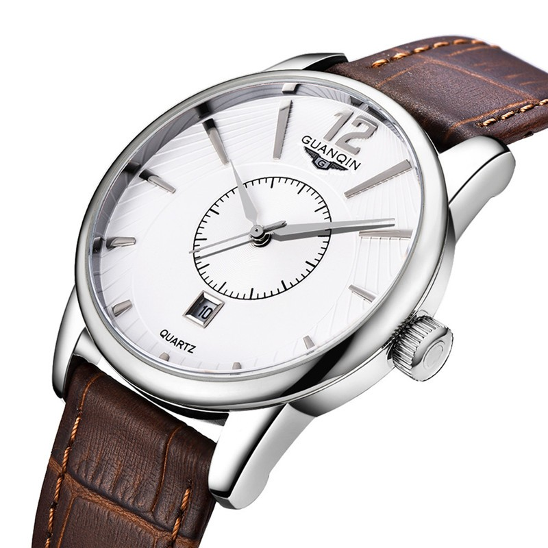 2016 Новый Мужчины Кварц Час Дата Часы Мужчины Повседневная Спортивные Часы Мужская Кожа Наручные Военные Часы Марка GUANQIN Relogio Masculino