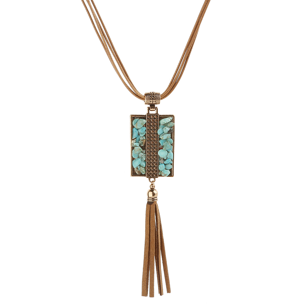 2016 new retro popular leather cord necklace chain clavicle geometric turquoise jewelry wholesale NK157(China (Mainland))