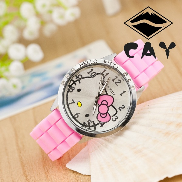 Fashion Cute Lovely Hello Kitty Design Kitty Cat Silicone Band Crystal Wristwatches Watch for Children Kids Boys Girls NB003(China (Mainland))