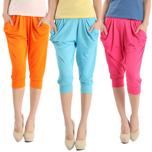 2015 summer new casual candy color silk seven 7 minutes ice thin big yards female harem pants feet cropped trousers - Bandao global Group store