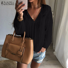 Buy ZANZEA Brand Autumn Shirts 2017 Women Casual Loose Patchwork Lace Crochet Blouses Sexy V Neck Long Sleeve Blusas Tops S-5XL for $7.25 in AliExpress store