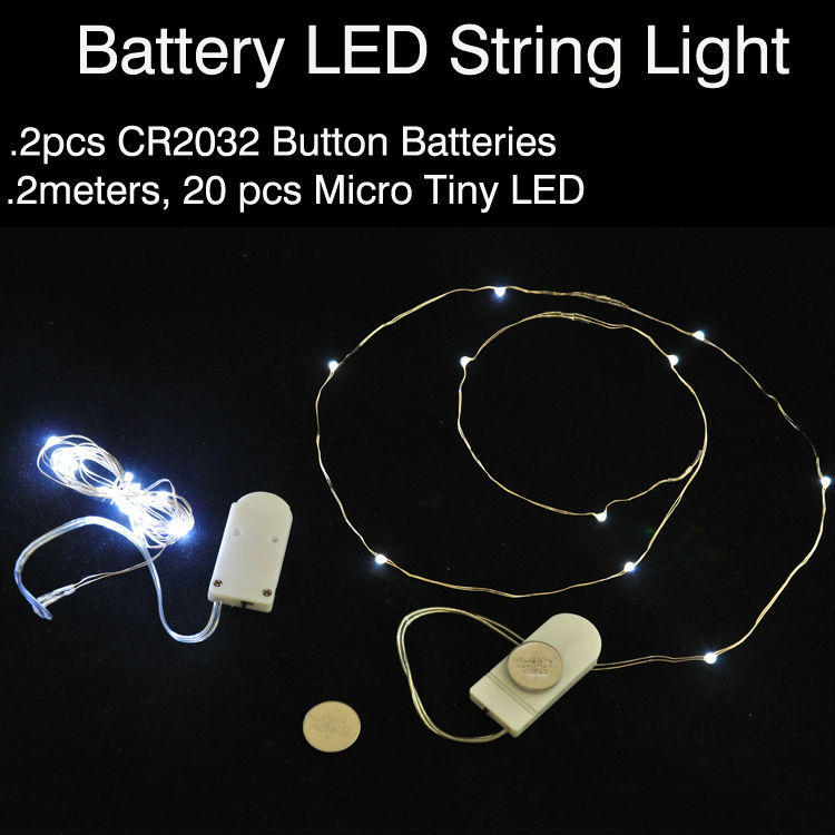 10pcs/lot CR2032 Button Cell Battery Operated 7ft 20LED Micro LED String Light,Waterproof Led ...