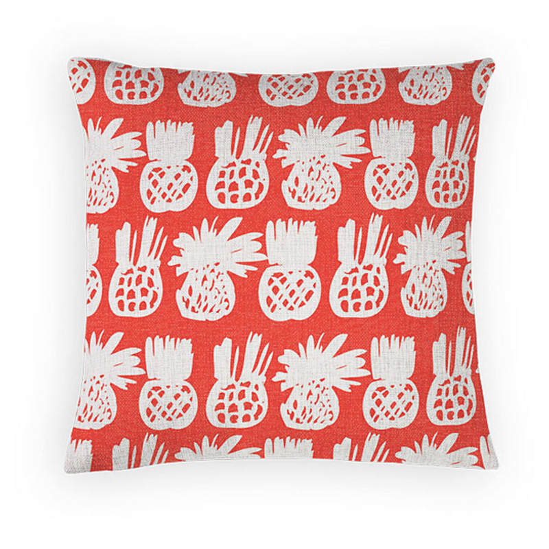 Home Decor Red Printed Waist Support Cushion Covers Linen Cotton Hug Pillow Cases For Sofa Car Seat Chair Capa Custom Cojines(China (Mainland))