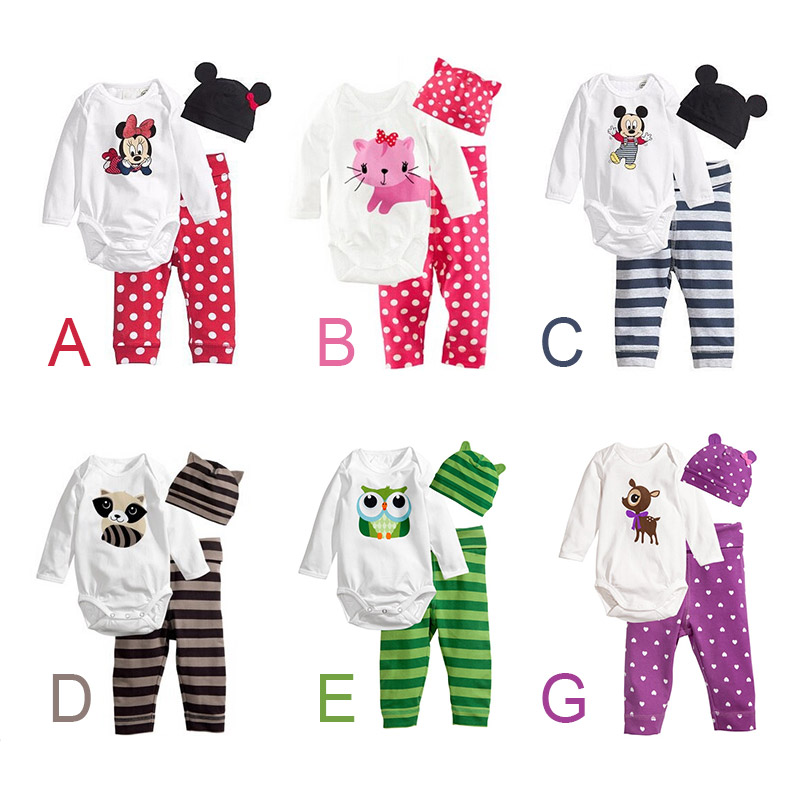 2015 Hot Newborn Carters Baby Girl Clothing Set (Romper+Hat+Pants 3 pcs) Infant Baby Boys Clothes Baby Set Rompers Roupas Bebes(China (Mainland))
