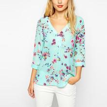 Women Fashion Blouse 2015 Feminine Flower Printed Blusa Front Short Back Tops Long Style Ladies Loose Women Shirt