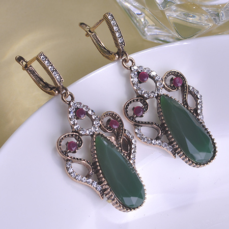 2015 Luxurious Vintage Royal Turco Earrings Pendant Brincos Grandes Sapphire Ruby Joias Resin Turkish Jewelry Bijuterias Charm O(China (Mainland))