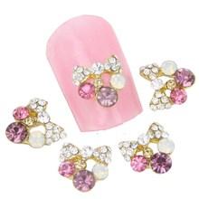 10pcs 3D Glitter Alloy Metal Nail Art Shining Rhinestone Bowknot Flower Nail Charm women Nail Tip Accessory Beauty Salon MA0155