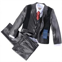 2-13Y Patchwork suit male formal, wedding suit boys, flower boy set, costume child suit 5 pcs set, kids blazer black jacket nino(China (Mainland))