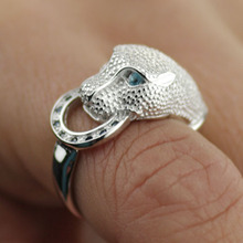 Hot Fashion High Quality 925 Sterling Silver Leopard Head Ring Fine Jewelry Inlay zircon imitation diamond