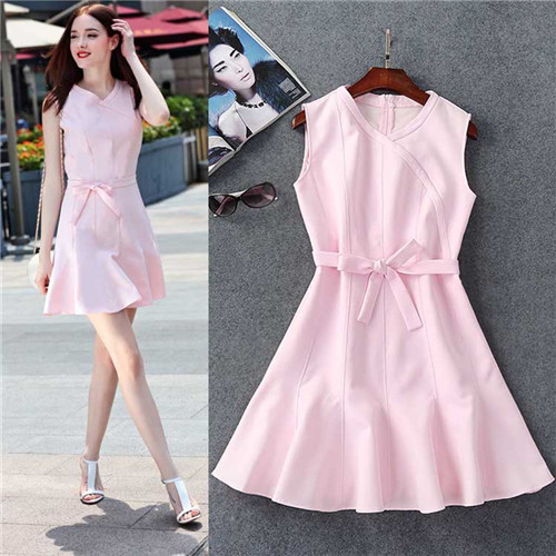 new woman dress 2016 summer solid dresses sleeveless cute pink mini dress black cotton tank dress free shipping canada kawaii(China (Mainland))