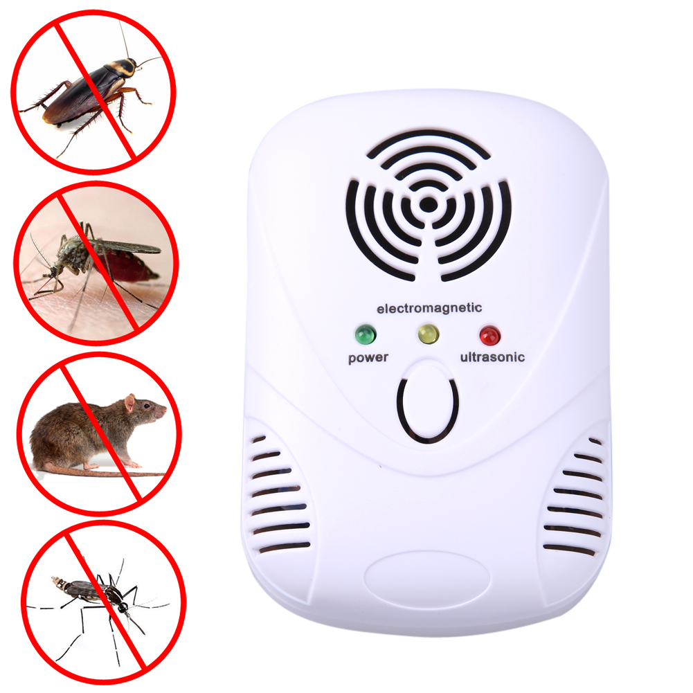 6W Electronic Ultrasonic Mouse Killer Mouse Cockroach Trap Mosquito Repeller Insect Rats Spiders Control US/EU Plug 110-250V(China (Mainland))