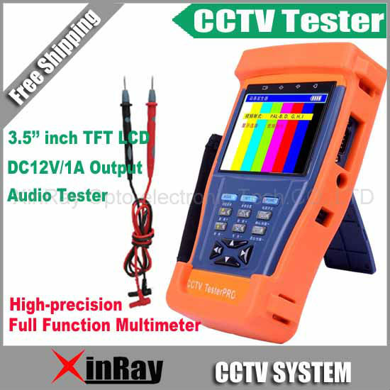 "3.5"" inch CCTV Tester with Full Function Multimeter TFT-LCD Monitor Camera Video Test / PTZ UTP RS485 XR-CT4,Free Shipping"