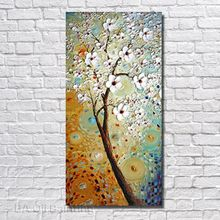 Buy 100%Hand Painted Abstract White Flower Tree Oil Painting Canvas Modern Home Decor Living Room Framed Wall Picture for $14.28 in AliExpress store