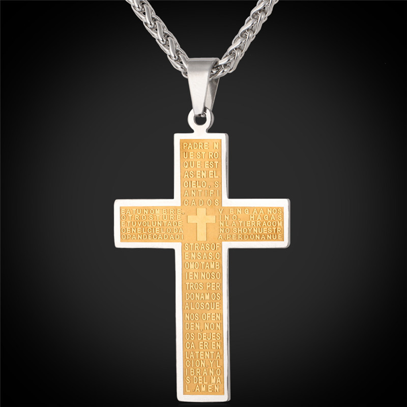Cross Pendants Necklace For Men '316' Stamp Stainless Steel Vintage 18K Gold Plated Vintage Jewelry Trendy Cross Pendant P145(China (Mainland))