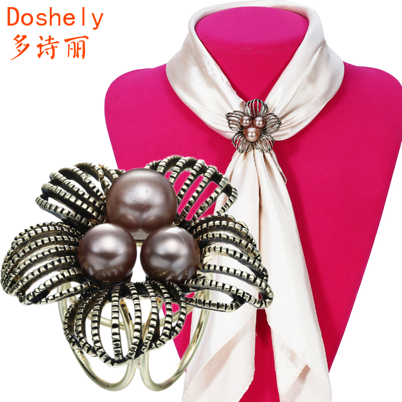Classic retro Women Jewelry Coconut Tree Brooches Old gold Imitation pearl Don't hook Silk Shawl Scarves Scarf buckle ring clips(China (Mainland))