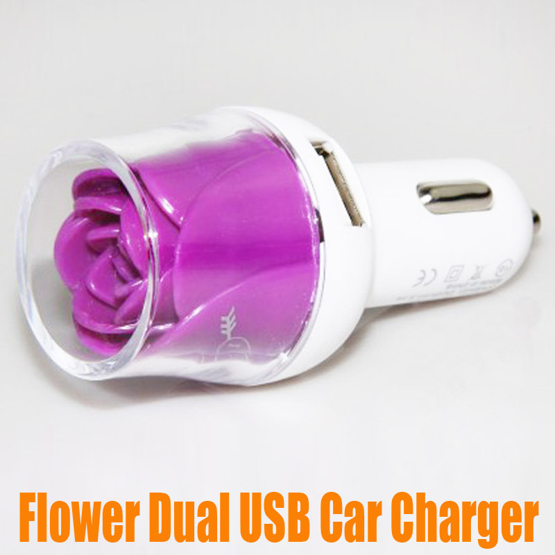Flower Lovely Pattern Rose Dual USB 2A Car Charger Dual Usb Mini Charger for Note 4 i6 i6 plus Colorful Universal 10pcs/lot(China (Mainland))