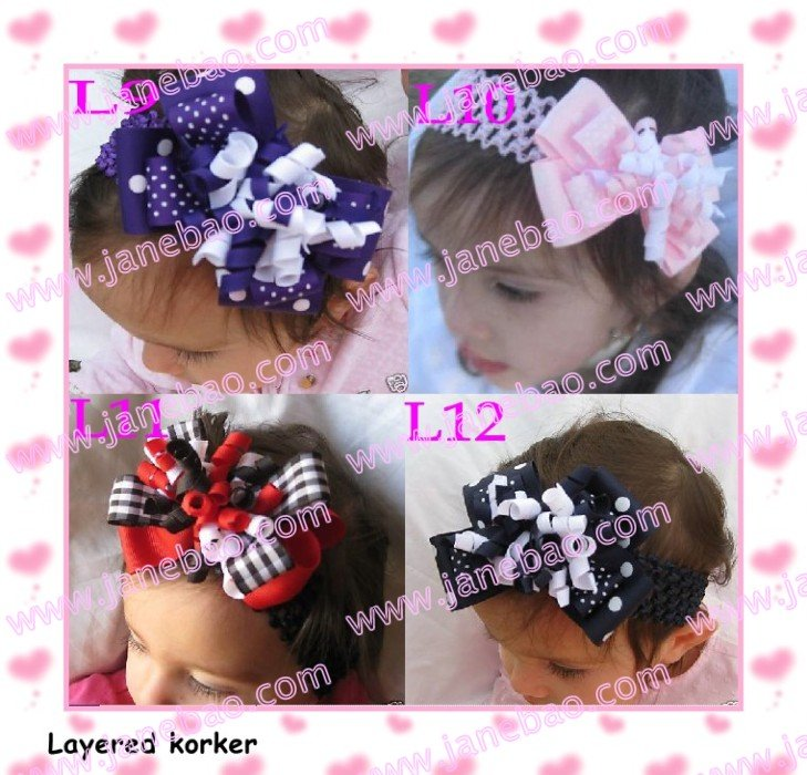 free shipping 120pcs 4'' M2MG Layered Korker Hair Bow boutique corker hair clips(without headbands)(China (Mainland))