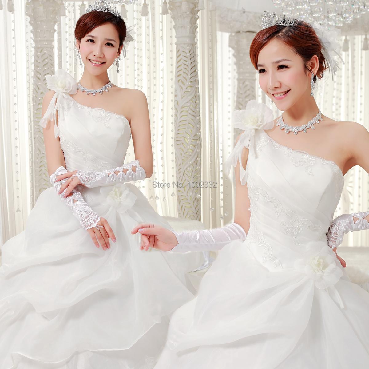 Z stock 2016 new plus size women one shoulder wedding for Plus size one shoulder wedding dress