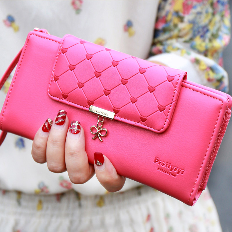 Popular Love Heart Women Wallet Delicate Lady Purse New Design Female Clutch Multicolor Card Holders Fresh Girl Change Purse(China (Mainland))
