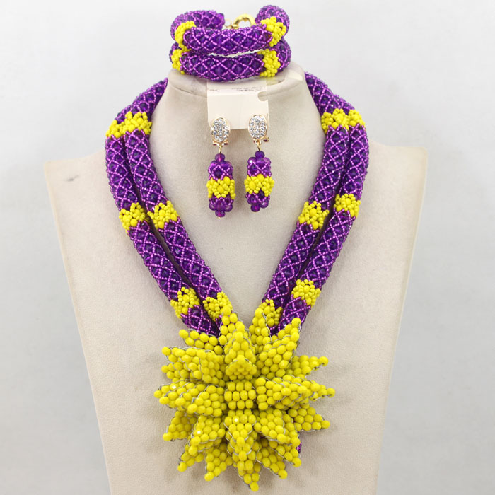 Graceful Purple Yellow Dubai Crystal Beads Bridal Jewelry Set Beauty Flower Statement Necklace Set Free Shipping WA745(China (Mainland))