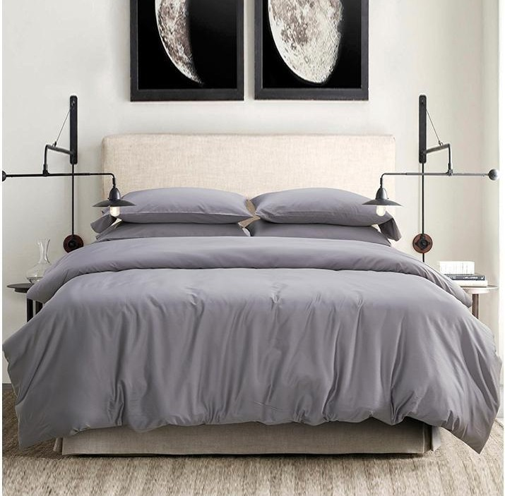 Egyptian Cotton Bed Set Gray Queen