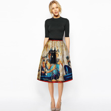 Women Summer Autumn Skirts Sexy Ancient Rome woman printing High Waisted Vintage Skirt
