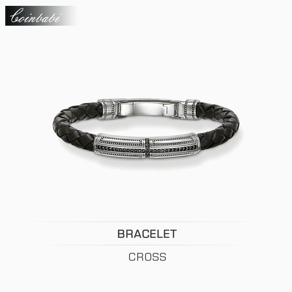 Leather Bracelet Men Black Cross Sharp 925 Sterling Silver Size 20Cm For Lover Trendy Gift Thomas Style Rebel At Heart Bracelet(China (Mainland))