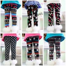 Alta calidad otoño invierno gruesas chicas calientes Leggings pantalones niños ropa mariposa muchachas de la flor pantalones(China (Mainland))