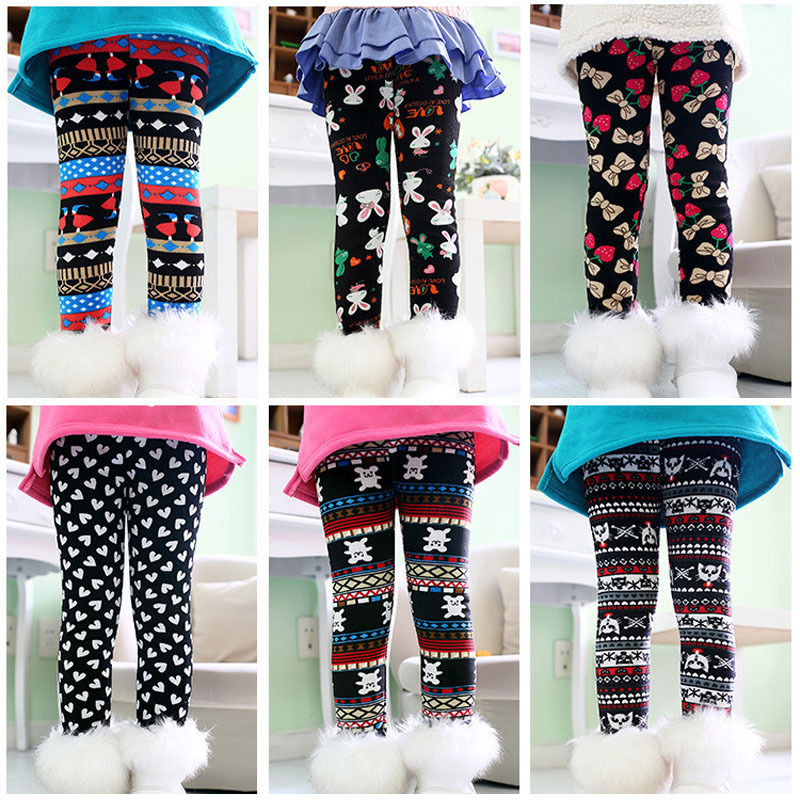 High quality Winter Autumn Thick Warm Girls Leggings Pants Children Clothing Flower Butterfly Girls Pants(China (Mainland))