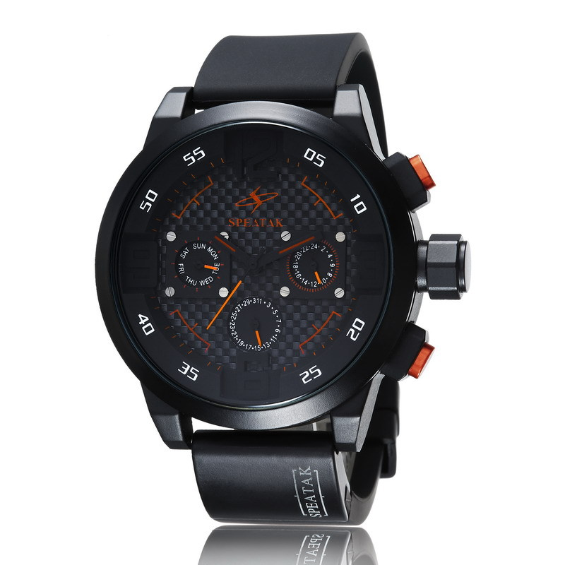 Speatak sports fashion double time zone men watch with calendar Personality fashion big dial quartz watch for male men<br><br>Aliexpress