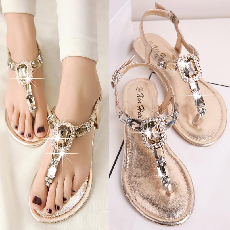 Women sandals flats summer shoes women 2015 style rhinestone flat heel flip flops plus size - JIUJIU Store store