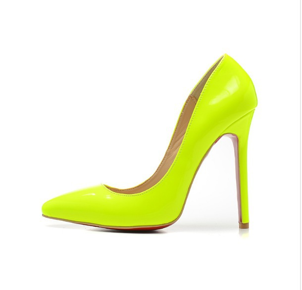 2015 12cm 10cm 8cm Sexy High Heels Neon Yellow Black Nude Pumps Genuine Leather Shoes Women - HangZhou LongYuan Trade Co., Ltd. store