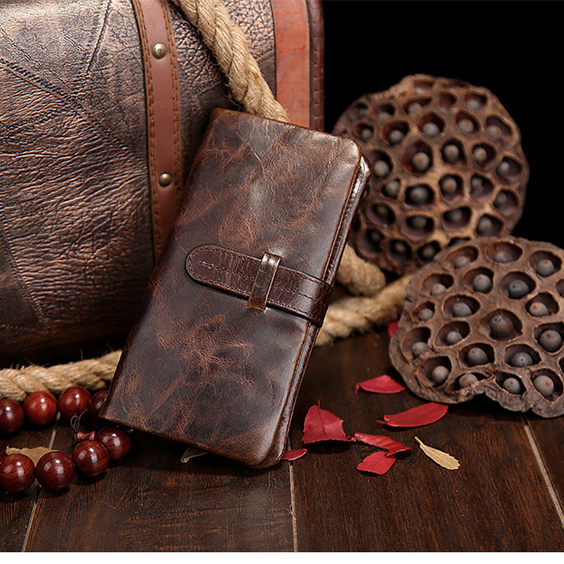 Hot selling High quality natural genuine leather famous brand men long purse top brand head layer cowhide lager capacity wallet(China (Mainland))