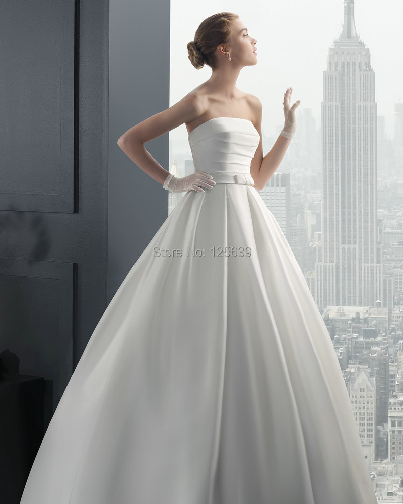 2015 waist belt wedding dresses strapless satin bridal gowns court